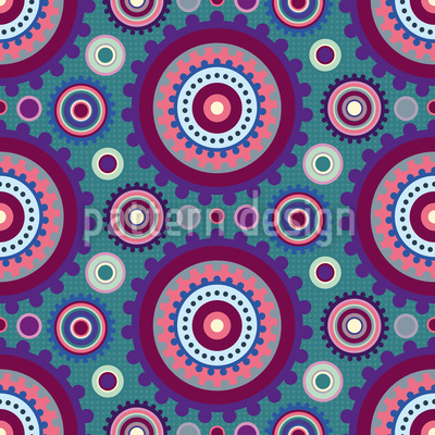 Floral Gear Circles Repeat Pattern