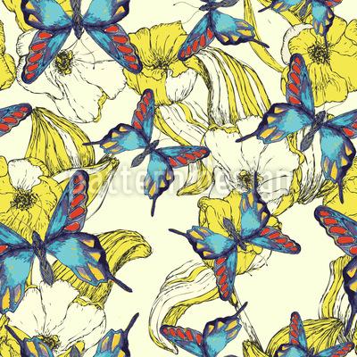 Blumenmeer Und Schmetterling Muster Design