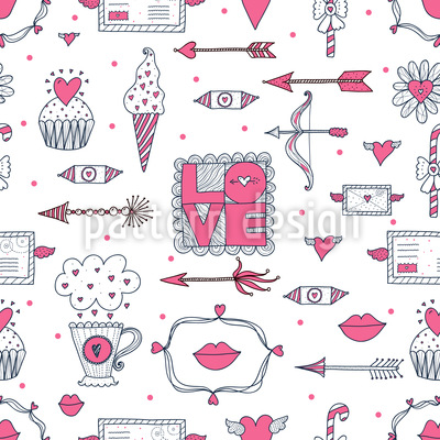 Liebe Und Andere Dinge Nahtloses Vektormuster