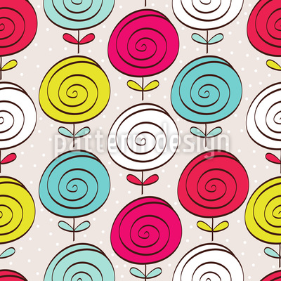 Lollipop Flowers Vector Pattern