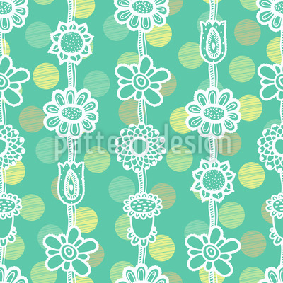 Flower Garlands On Dots Pattern Design