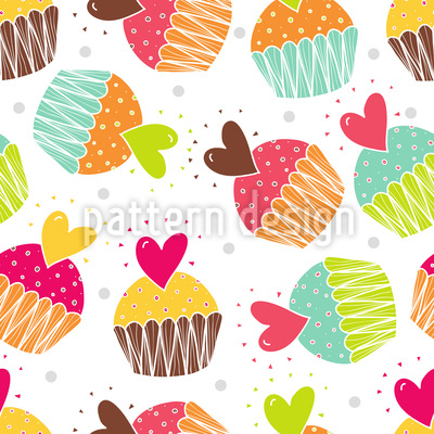 Muffins With Heart Vector Design