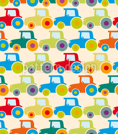 Tractor Show Seamless Vector Pattern Design