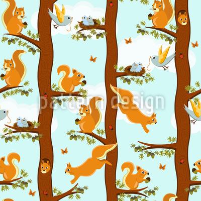 Eichhörnchen Party Nahtloses Vektor Muster
