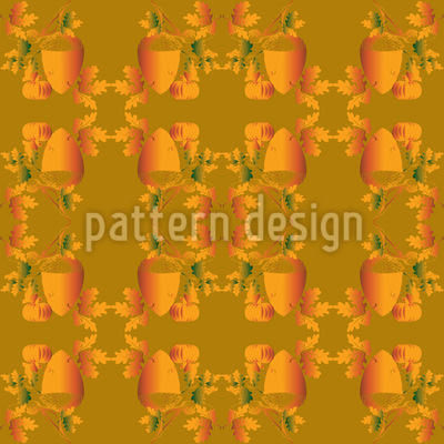 Eicheln Und Blätter Rapportiertes Design