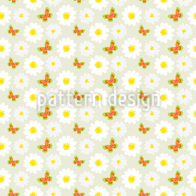 Butterflies Dance With Daisies Repeat Pattern
