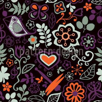 In The Nocturnal Bird Paradise Seamless Pattern