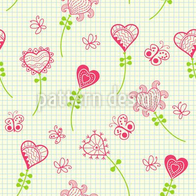Herzblumen Im Mathematik Heft Vektor Ornament