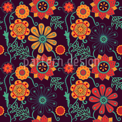 At Night In Irinas Garden Seamless Vector Pattern