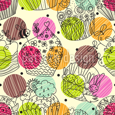 Cup Cake Fantasies Seamless Vector Pattern Design