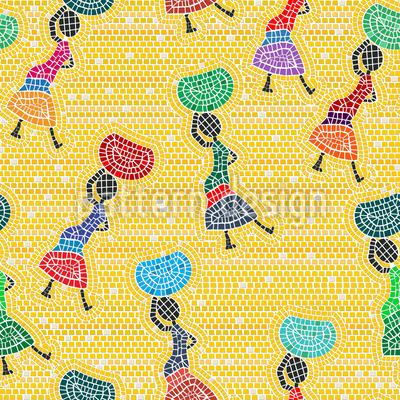 African Women  Seamless Vector Pattern