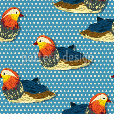 Mandarin Ducks On Polkadots Design Pattern