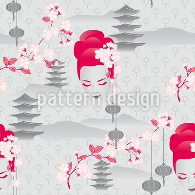 Kirschblüten Geisha Nahtloses Vektormuster