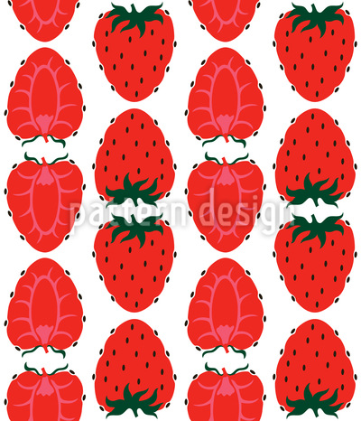 Strawberries Half And Full Seamless Pattern