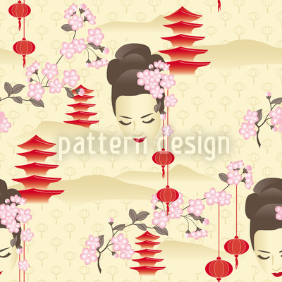 Cherryblossom Geisha Red Pattern Design