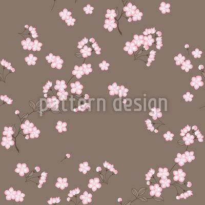 Kirschblütenzweige Braun Nahtloses Vektormuster