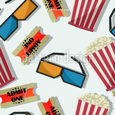 Popcorn Im 3D Kino Nahtloses Vektormuster