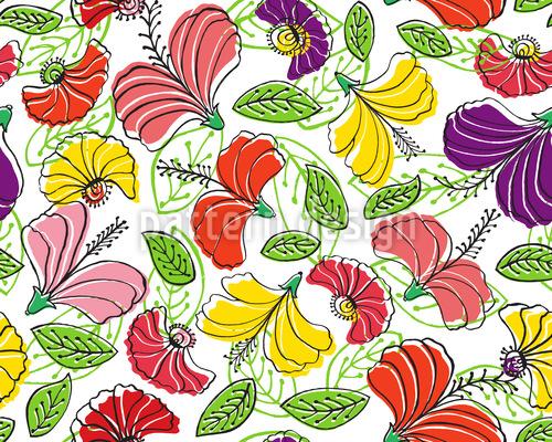Paradiesische Blumen Fantasie Rapportmuster