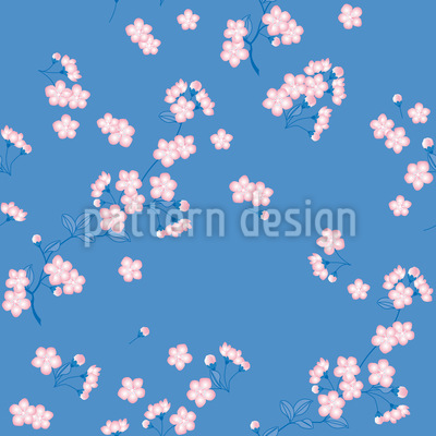 Cherry Blossoms Blue Vector Ornament