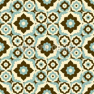 Blumen Im Retro Winter Nahtloses Vektor Muster