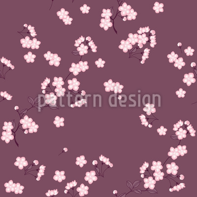 Cherry Blossoms Mauve Seamless Pattern