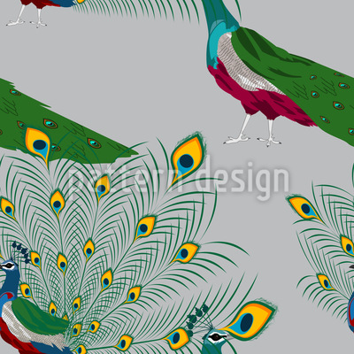 Peacock Show Seamless Vector Pattern