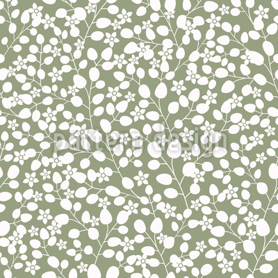 Snow White Garden In Spring Vector Pattern