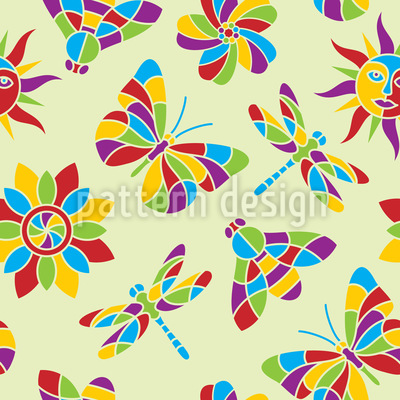 Mosaic Of Summer Seamless Vector Pattern Design