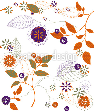 Autumn Flowers Seamless Vector Pattern Design