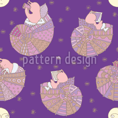 Miss Snail And The Man In The Moon Seamless Vector Pattern