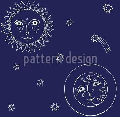 Frau Sonne Und Herr Mond Vektor Muster