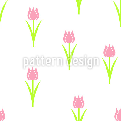 Tulip Solitaire Seamless Vector Pattern Design