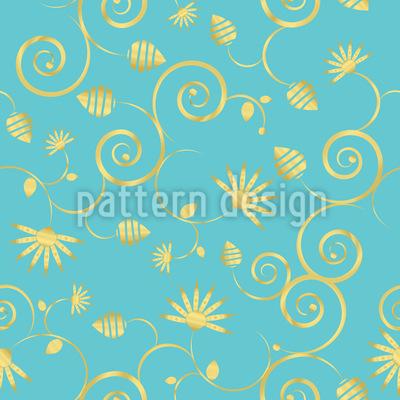 Ein Himmel Voller Gold Blumen Designmuster