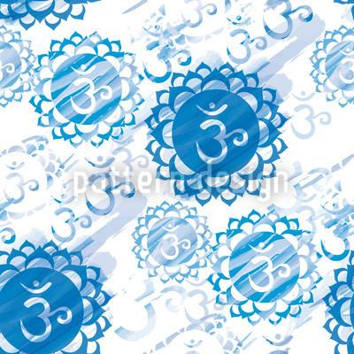 Om Blau und Weiß Rapportiertes Design