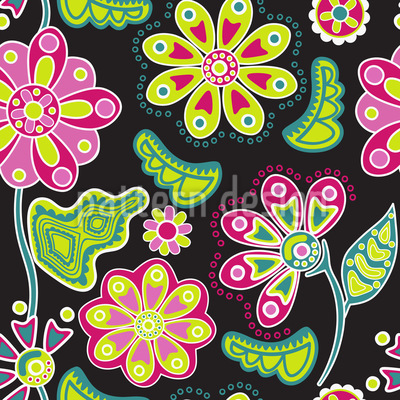 Night Flower Folklore Seamless Vector Pattern Design