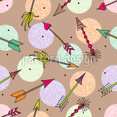 Cupids Arrows On Dots Pattern Design