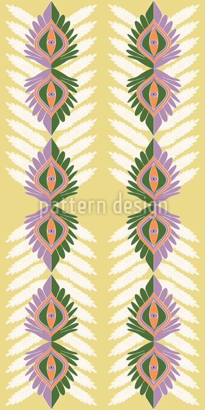 Vertical Ethno Leaves Vector Design