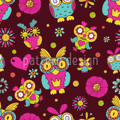 Owls In Chocolate Seamless Vector Pattern Design