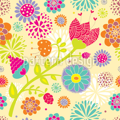 Floral Summer Festival Seamless Vector Pattern Design