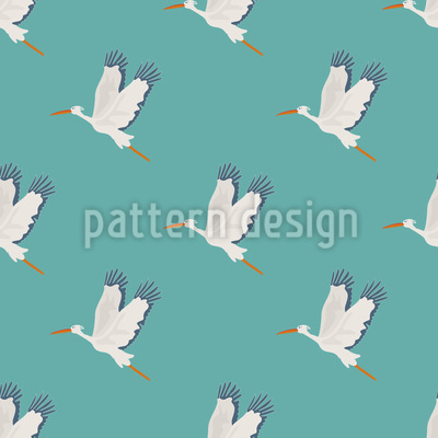 Stork Flight Seamless Vector Pattern Design