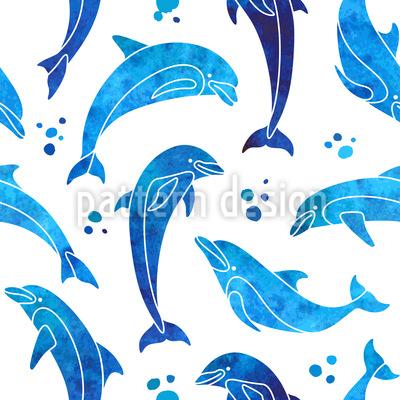 Delfine In Wasserfarbe Nahtloses Vektor Muster