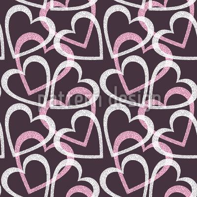 Flourish Heart Seamless Vector Pattern Design