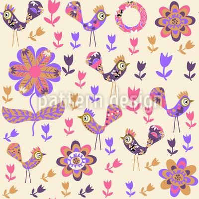Pássaros de retalhos no jardim Design de padrão vetorial sem costura