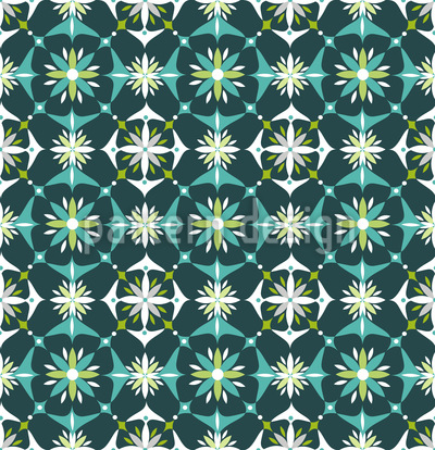 Floral Mosaic In Spring Seamless Vector Pattern Design
