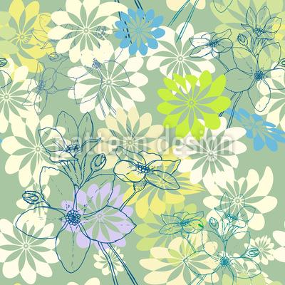 Der Frühling Liebt Alle Blumen Nahtloses Vektormuster