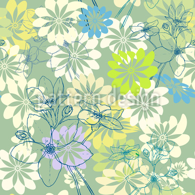 Spring Loves All The Flowers Seamless Vector Pattern Design
