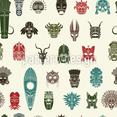 Tribal Masks Seamless Vector Pattern