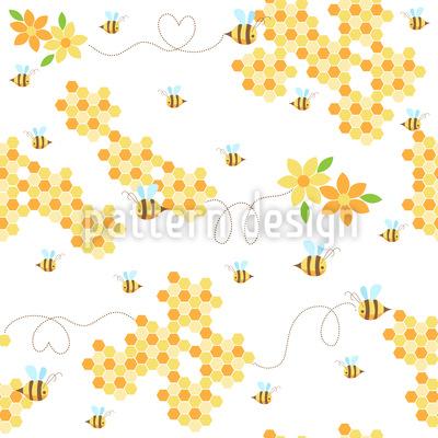 Bienchen Lieben Waben Musterdesign