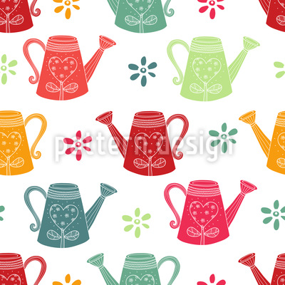 Watering Can Romance Vector Pattern