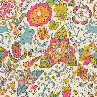 Häschen Im Märchen Garten Muster Design